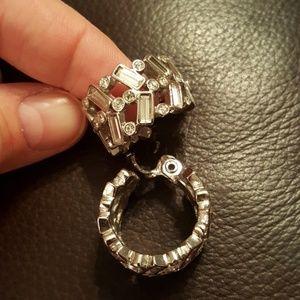 Large Monet Rhinestone Clip on Earrings